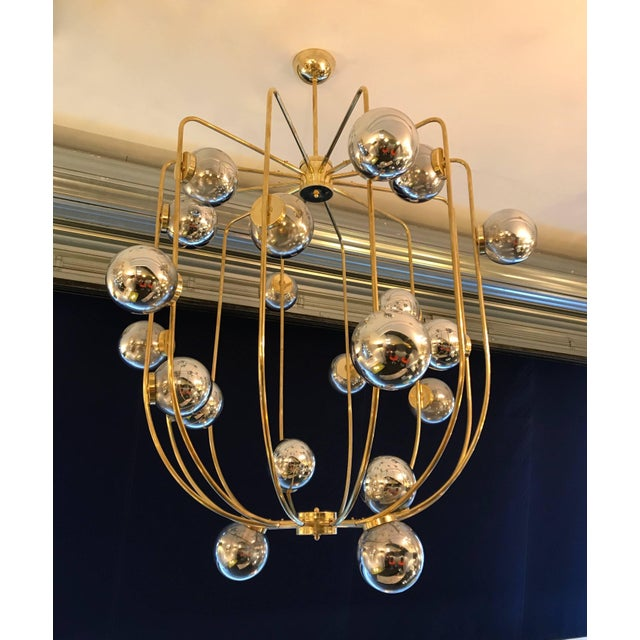 Metal Contemporary Chandelier Brass Cage. Italy For Sale - Image 7 of 11