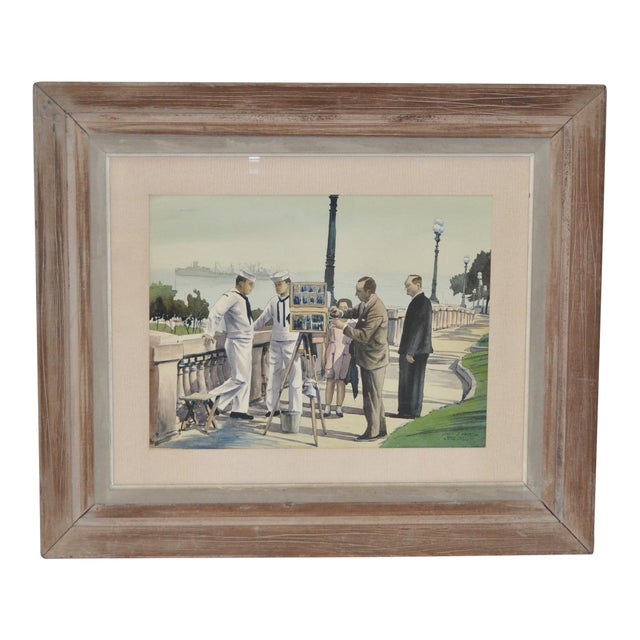 """1950s Vintage """"Naples, Italy with the 6th Fleet"""" Original Watercolor by Louis Kaep For Sale"""