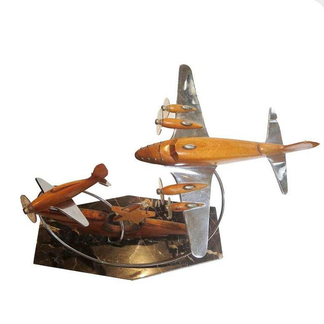 French Art Deco Airplane Sculpture For Sale - Image 4 of 7