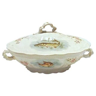 Antique Bavarian Fish Lidded Tureen For Sale