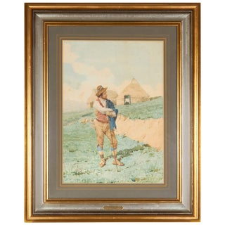 Filippo Indoni Watercolor of Young Man For Sale