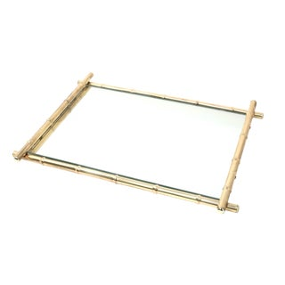 Vintage Brass Bamboo Motif Mirror or Tray