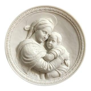 """Grand Tour Italian Renaissance """"La Madonna di Raffaello"""" Sculptural Plate For Sale"""