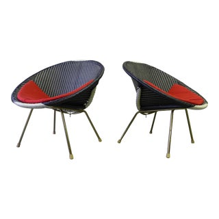 Mid Century Modern Woven Hoop Chairs, a Pair For Sale