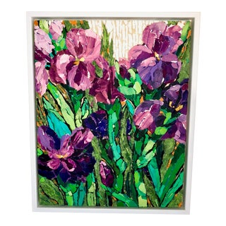 """Purple Irises II"" Acrylic Collage Painting For Sale"