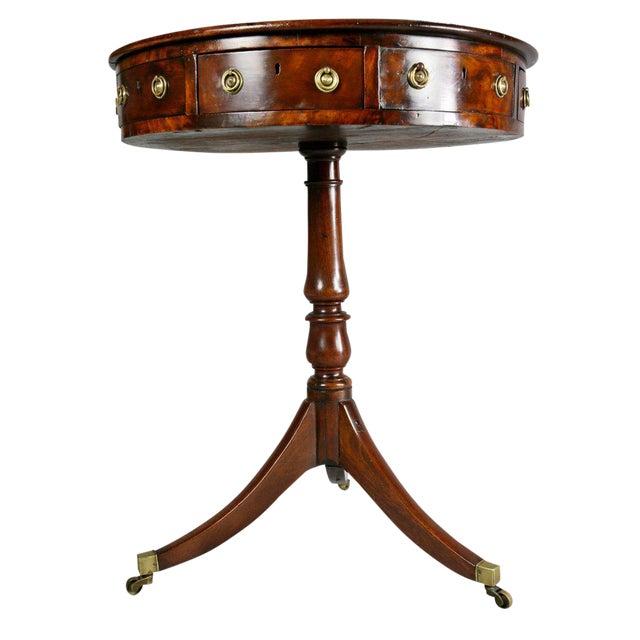 Regency Mahogany and Ebony Small Drum Table For Sale