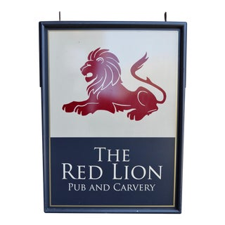 Vintage British 'The Red Lion Pub and Carvery' Pub Sign For Sale