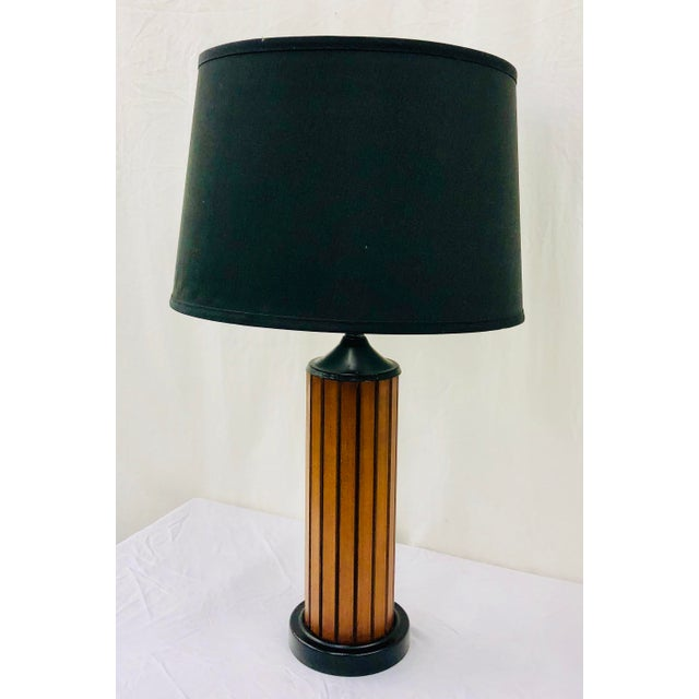 Metal Vintage Mid Century Wood Panel Table Lamp For Sale - Image 7 of 7