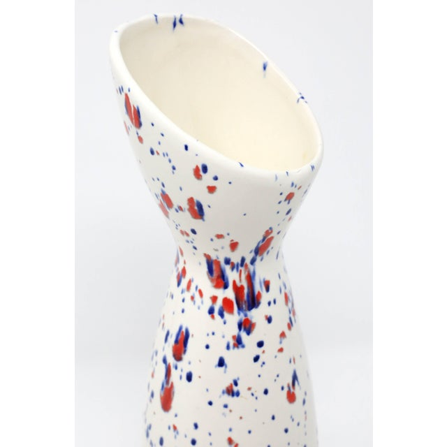 Red Wing Pottery Vintage Red Wing Pottery White, Blue and Red Speckle Vase For Sale - Image 4 of 9