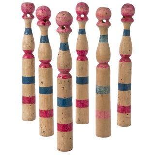Vintage French Wood Skittles - Set of 6