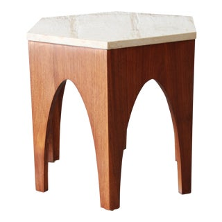 Harvey Probber Mid-Century Modern Walnut and Travertine Hexagonal Side Table For Sale