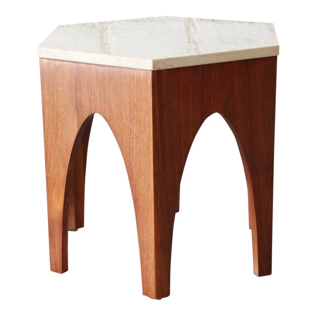 Mid Century Modern Walnut Travertine Coffee Table: Harvey Probber Mid-Century Modern Walnut And Travertine