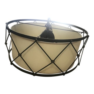 Tiered Cage 6-Light Wrought Iron and Fabric Drum Chandelier by Shades of Light For Sale