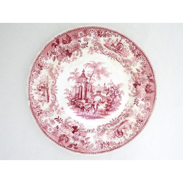 1830s F. Dillon China Red & White Transfer Plate For Sale - Image 10 of 10