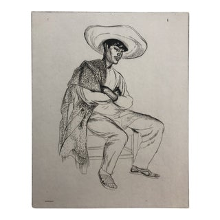 Benito Mexican Etching by Thomas Handford 1928 For Sale
