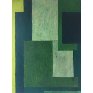 Abstract Monochromatic Geometric Green Painting by Stephen Cimini For Sale