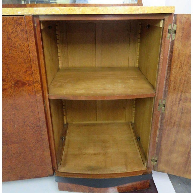 Mid-Century Modern Mid Century Modern Burl Walnut Inlaid Marble-Top Sideboard With Mirror For Sale - Image 3 of 11