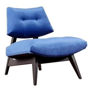 Jens Risom Style Blue Velvet Slipper Chair, New Upholstery For Sale