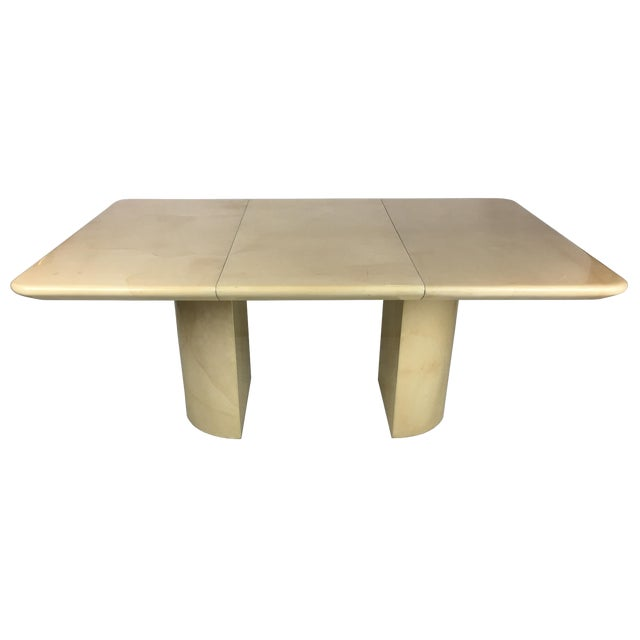 1980s Modern Parchment Extension Dining Table by Ron Seff For Sale