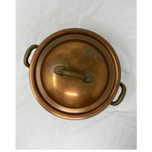 Small Copper Pot With Brass Handles and Lid For Sale - Image 4 of 13