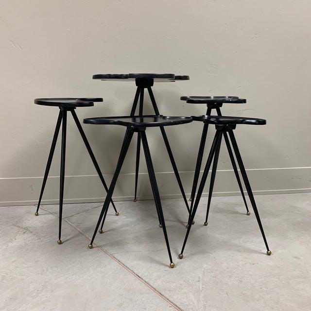 Modern 1990s Modern Black Italian Side Tables - Set of 5 For Sale - Image 3 of 6