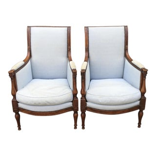 Pair of Antique Directoire Style Petit Bergere Arm Chairs