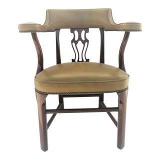 Colonial Willamsburg Style Mahogany & Green Leather Side Chair For Sale