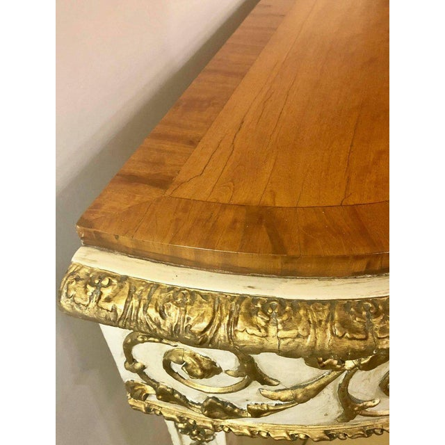 Paint Painted Console or Demilune Table Fine Wood Top Louis XV Style by Maison Jansen For Sale - Image 7 of 13