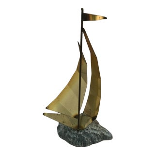 Nautical Brass and Stone Sail Boat For Sale