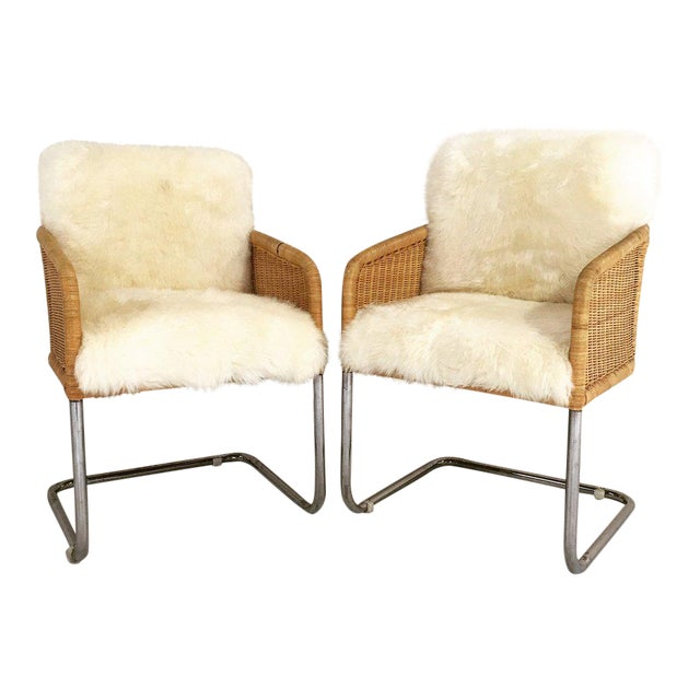 Woven Chairs with Sheepskin Cushions - A Pair - Image 2 of 8