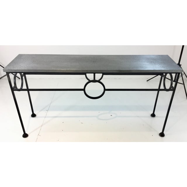 Stylish industrial modern Arteriors Westerly iron and metal console table, geometric detail, showroom floor sample,...
