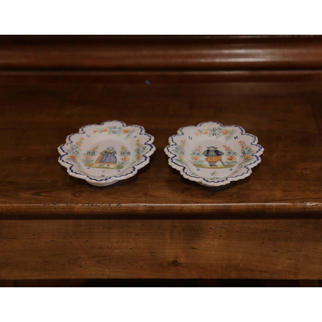 Ceramic Pair of 19th Century French Faience Oval Wall Plates Signed Henriot Quimper For Sale - Image 7 of 11