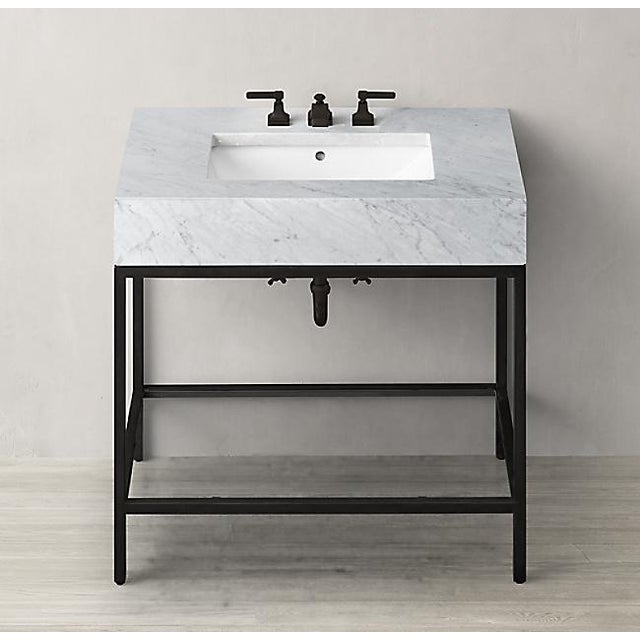 Black Restoration Hardware Hudson Metal Single Washstand Bathroom Sink Vanity For Sale - Image 8 of 9