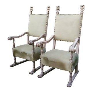 1920s Vintage Spanish Horse Skin Chairs- A Pair For Sale