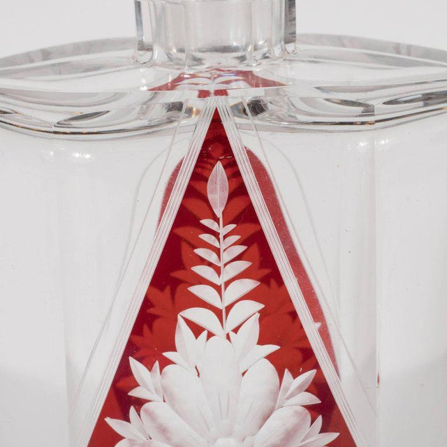 Red Art Deco Czech Crystal Decanter with Stained Cardinal Red Glass and Floral Motif For Sale - Image 8 of 10