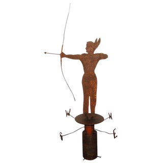 19th Century Iron Indian Weathervane With Stand For Sale