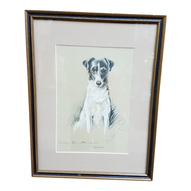 Fox Terrier Pastel Conte Drawing For Sale