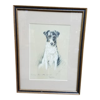 Vintage Fox Terrier Hand Colored Print by Lucy Dawson For Sale