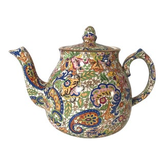 Vintage Mid-Century Wade Heath English Chintz Teapot For Sale