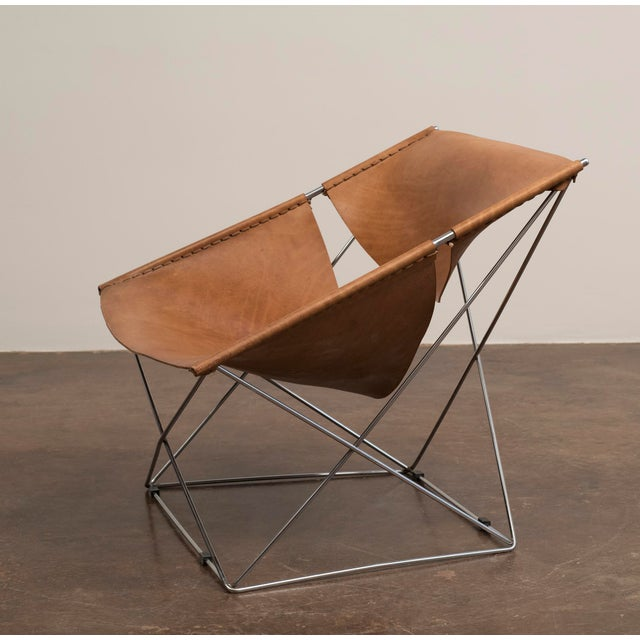 1960s Pair of Pierre Paulin Butterfly Chairs in Original Leather, France, 1963 For Sale - Image 5 of 12