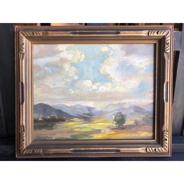 Sky Blue 1920s Olivia D Pennington Countryside Landscape Oil on Canvas Signed Painting For Sale - Image 8 of 8