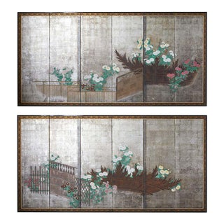 Pair of Japanese Edo Screens Chrysanthemums Along Fence For Sale