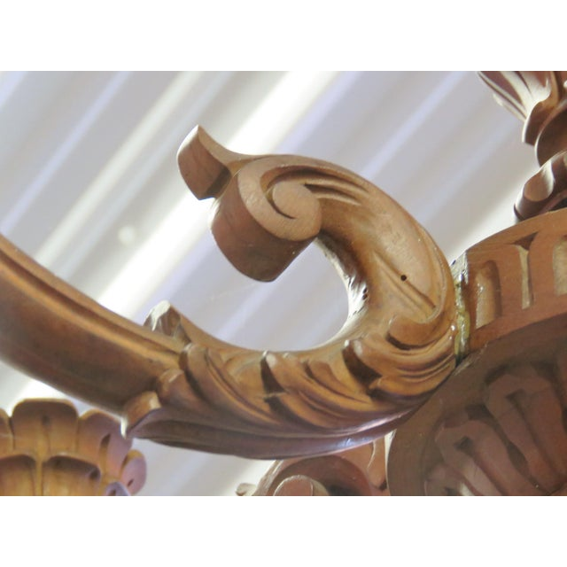 Carved Walnut Wooden Chandelier - Image 3 of 5