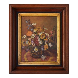 Impressionistic Still Life of Wildflowers and Duck Figurine For Sale
