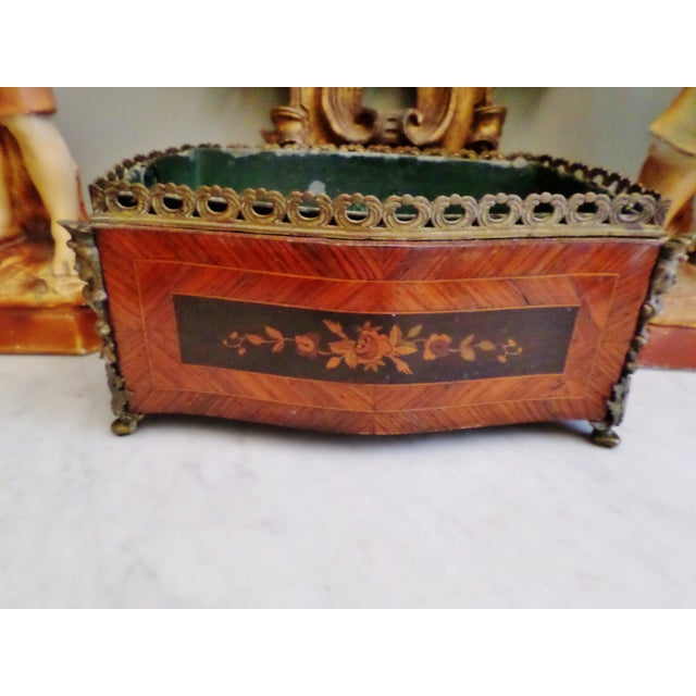 19th Century Antique French Bronze & Marquetry Inlaid Wood Flower Box For Sale - Image 12 of 12