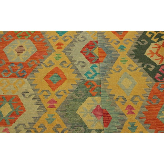Textile Felice Gold/Gray Hand-Woven Kilim Wool Rug -6'7 X 9'10 For Sale - Image 7 of 8