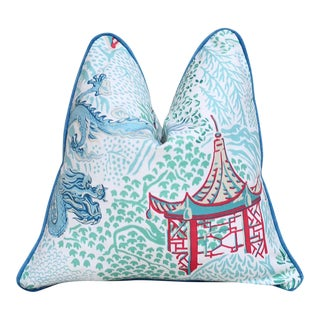 Trend Pagoda & Dragon Pillow in Aqua