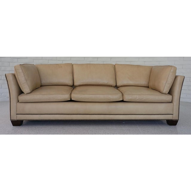 Traditional Light Camel Leather Sleeper Sofa For Sale - Image 11 of 11