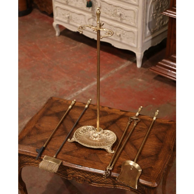 Metal 19th Century French Louis XV Bronze Fireplace Tool Set on Stand For Sale - Image 7 of 10