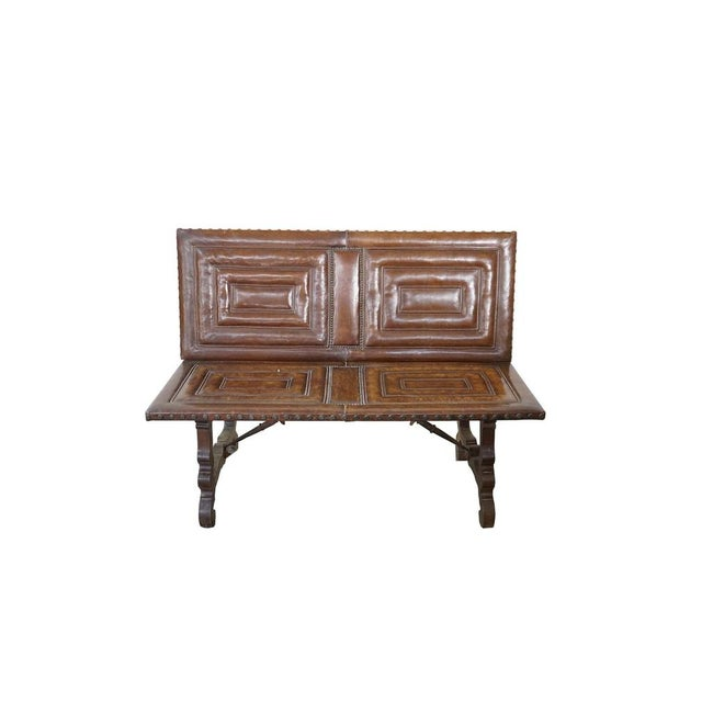 Decorative Leather Bench For Sale - Image 12 of 12